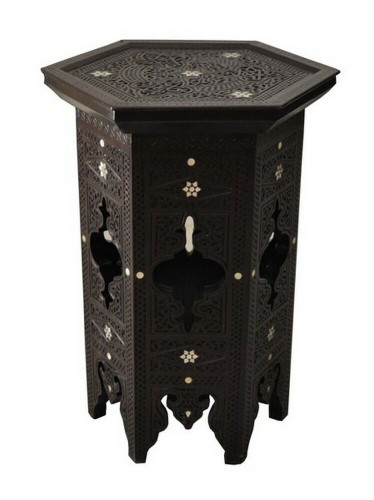Unique Hand carved Syrian Mother of Pearl Inlaid Wood Side Coffee End Table