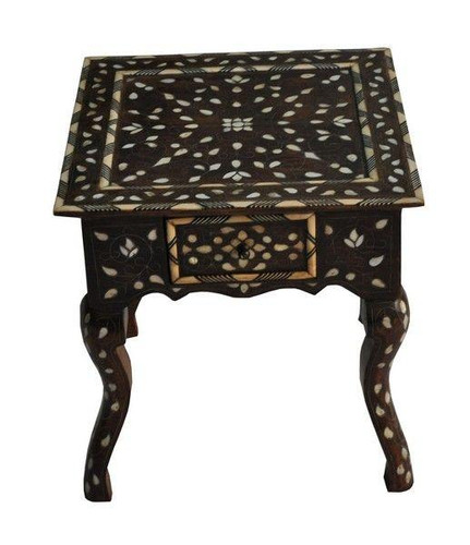 Syrian Mother of Pearl Inlaid Wood Coffee-End Table with drawer