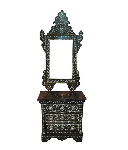 Syrian Mother of Pearl Console Table with Drawer