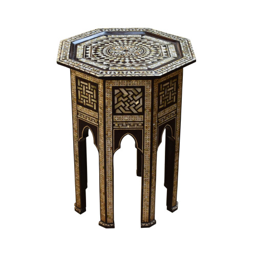 Turkish Ottoman Mother of Pearl Wood Coffee Side Table