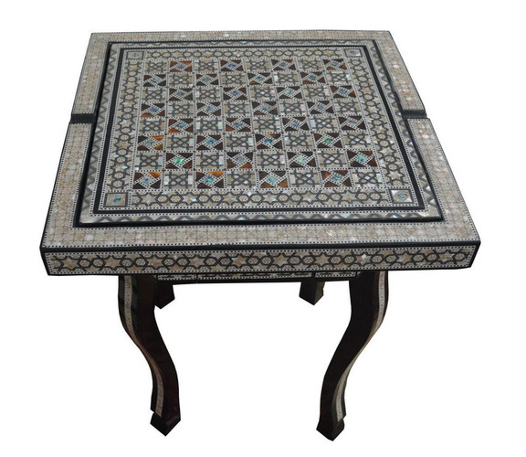 Mother of Pearl Chess Backgammon Occasional Coffee Side Table- 3 in 1
