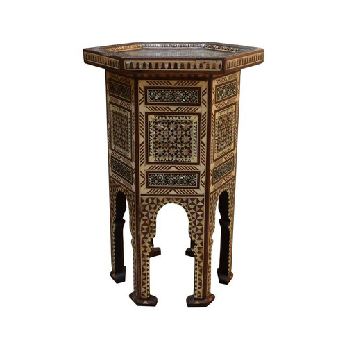 Islamic Turkish Ottoman Mother of Pearl Inlaid Wood Coffee Table