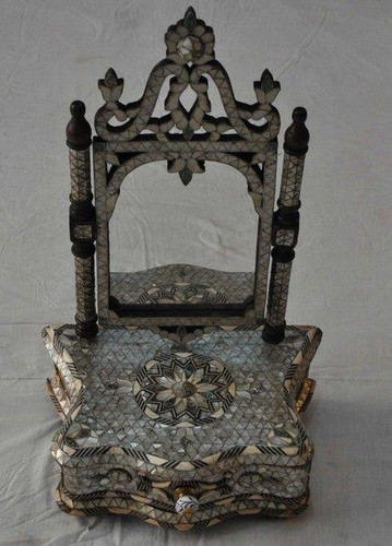 Antique Syrian Middle Eastern Mother of Pearl Wood Mirror Frame Dresser