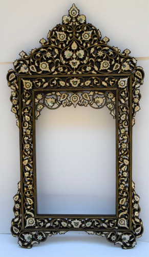 "Large 47"" Syrian Handcrafted Mother of pearl Inlaid Wood Wall Mirror Frame"