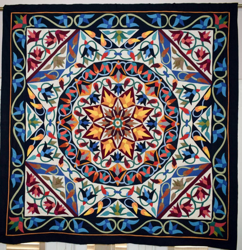 Handmade Egyptian patchwork quilt bed cover / wall hanging Islamic Art