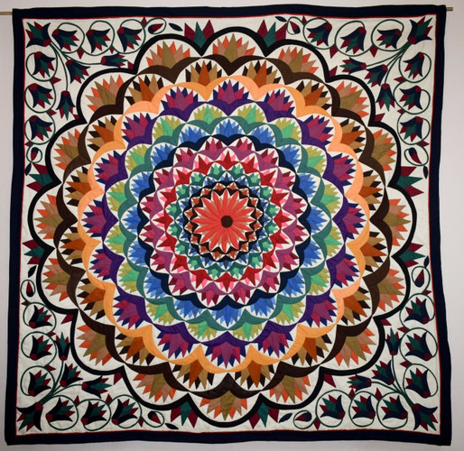 Hand stitched Egyptian colorful applique quilt patchwork/bedspread/ wall hanging tapestry