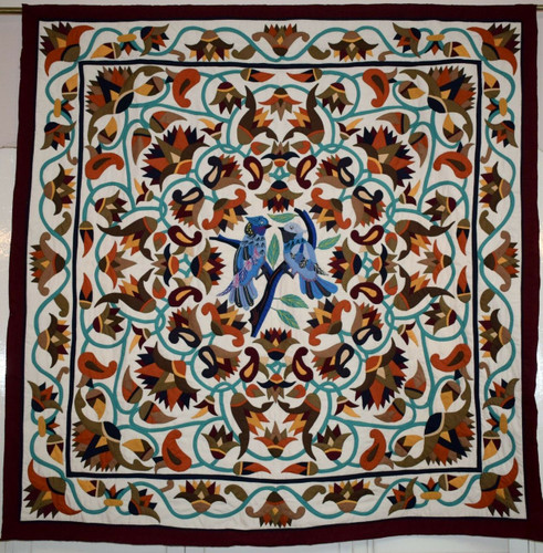 Handmade egyptian khayamiya colorful bed cover quilt patchwork wall hanging