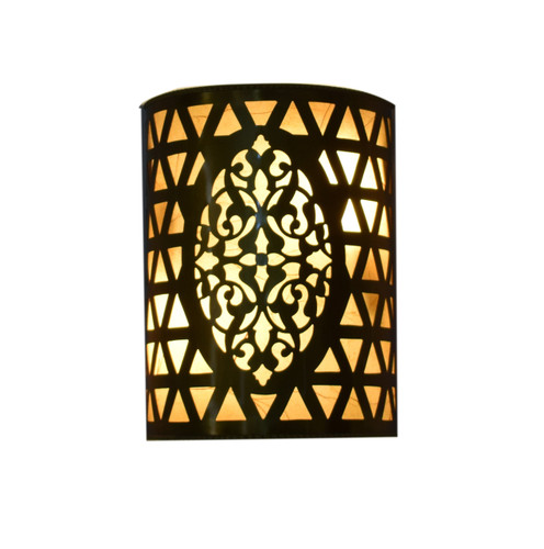 2 Moroccan Matte Gold Brass  cut out Wall Lamp Sconce lights