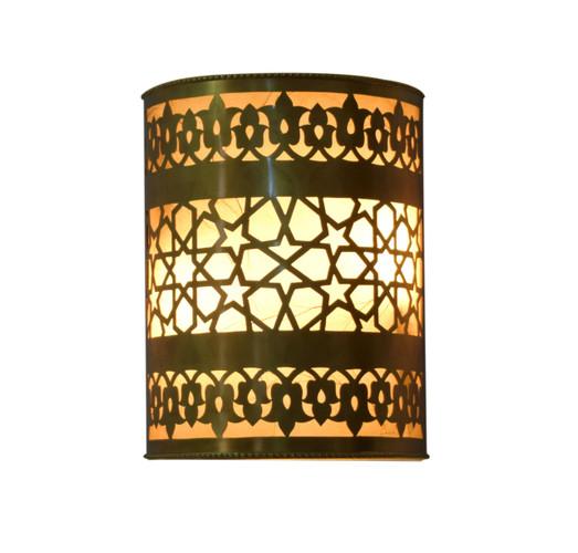 2 Moroccan Islamic Art Matte Gold Brass Wall Lamp Sconce light