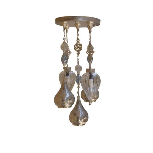 5 Pendant Lamps cluster , Hand blown Glass Egyptian Pendant Lamp