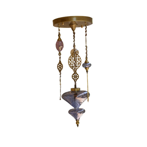 Handmade Ottoman Turkish Blown Glass & Brass Pendant Chandelier, Moroccan Light