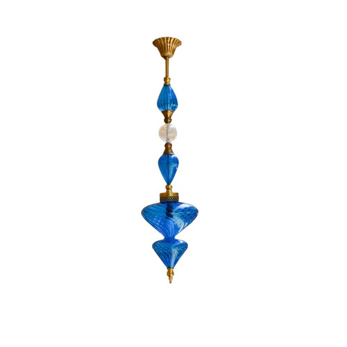 Blue Hand blown Glass Pendant Lamp, Moroccan Turkish Egyptian Brass Lamp