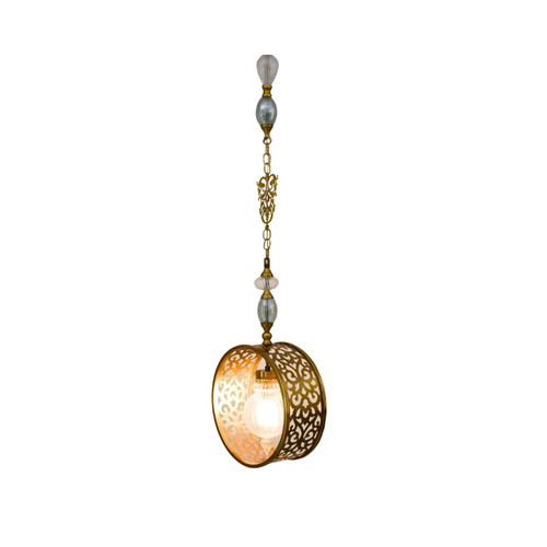 Moroccan Turkish Hand blown Glass Pendant Lamp, Moroccan Turkish Brass Lamp
