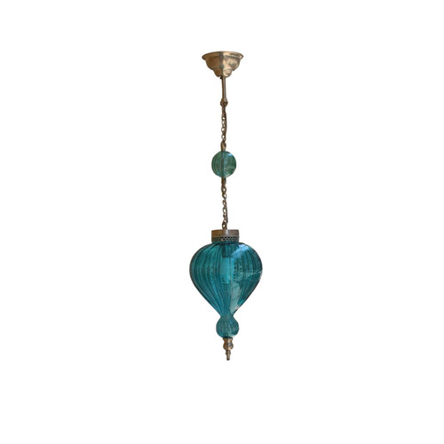 Hand blown Glass Pendant Lamp, Moroccan Turkish Egyptian Brass kitchen Lamp Lighting