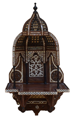 Egyptian Arabesque Shelf-Moroccan Mother of pearl Inlaid Wall Hanging Shelf