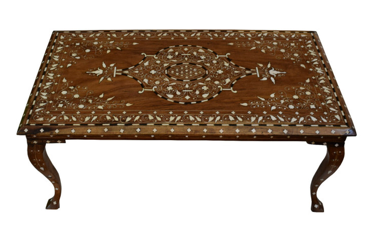Antique Handmade Middle Eastern Wood Coffee Table, Bone Inlaid Morocco Table