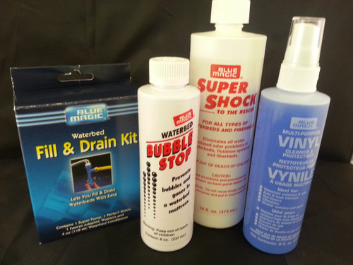 Waterbed Accessories Bundle includes Fill-Drain Kit Vinyl Cleaner Aqua Shock Bubble Stop