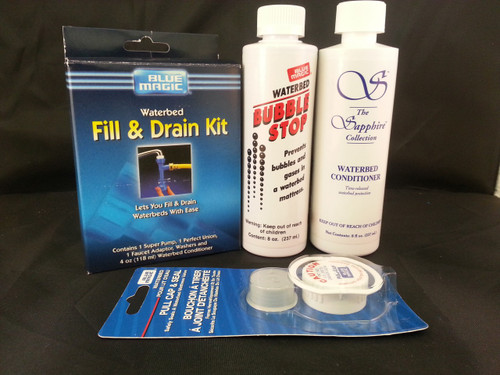 Waterbed Accessories Bundle includes Bubble Stop Waterbed Conditioner Fill-Drain Kit Pull Cap and Seal