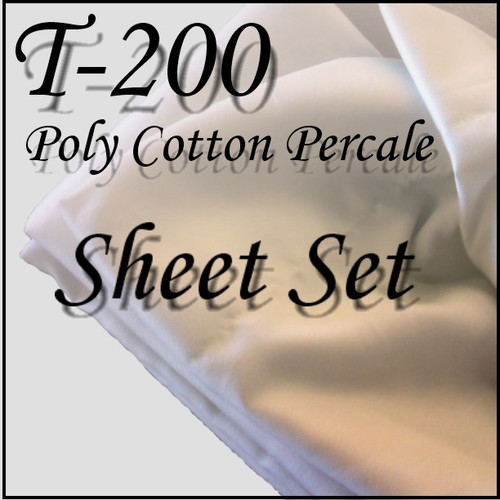 London Bridge Linens Percale T-200 Waterbed Sheet Set|london bridge linens, t200, sheet sets, percale