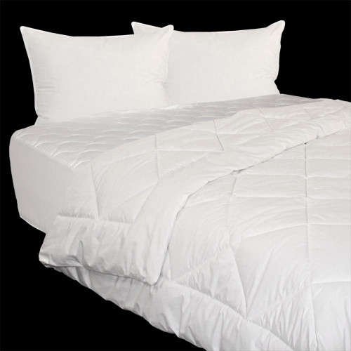 Comforter, Mattress Pad and Pillows Set. Get your bed ready for sleep with this package.