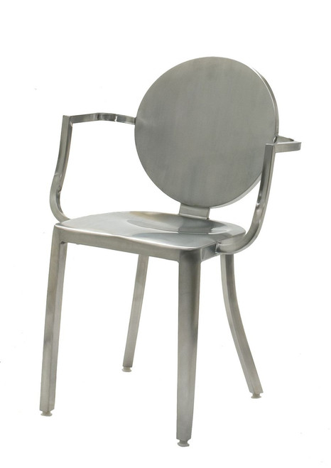 INNERSPACE INDOOR CHAIR COLLECTION - BRUSHED 18 INCH STAINLESS STEEL ROUND BACK DINING HEIGHT