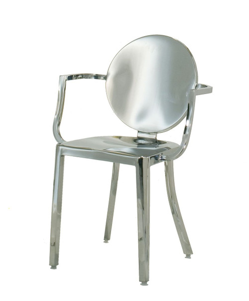 "INNERSPACE INDOOR CHAIR COLLECTION - POLISHED 18"" STAINLESS STEEL ROUND BACK DINING HEIGHT"