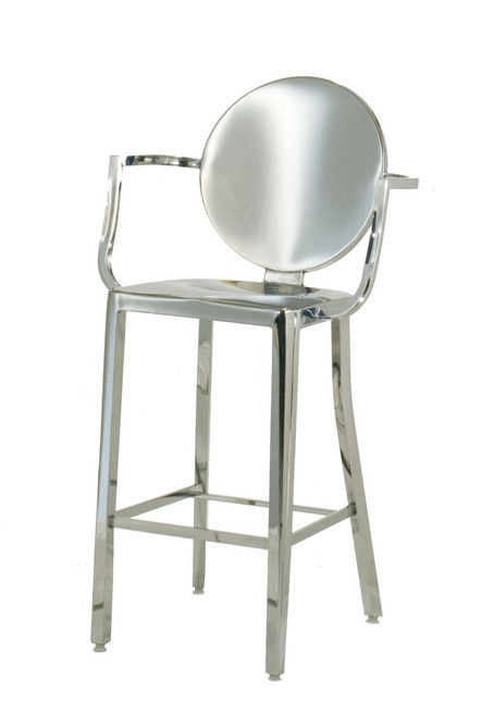 "INNERSPACE INDOOR CHAIR COLLECTION - POLISHED 25.5"" STAINLESS STEEL ROUND"