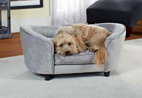 Enchanted Home Pet Ultra Plush Large Snuggle Bed Quicksilver|enchanted home pet beds, pet beds, snuggle pet sofa, snuggle beds, pet sofa, quicksilver