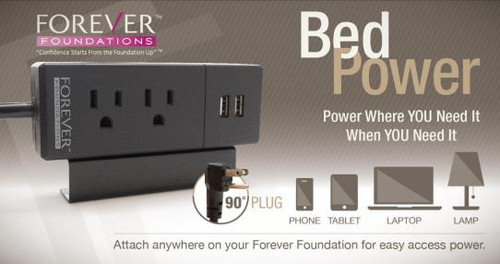 Forever Foundation BEDPOWER Outlet with USB|forever foundations, bed frames, store more black, bedpower outlet, usb outlet