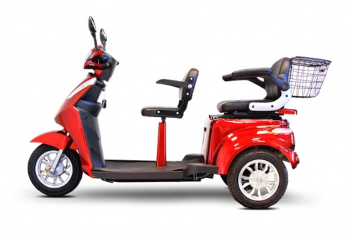 EWheels EW-66 3 Wheel 600lbs. Wt. Capacity 2 Passenger Heavy Duty Scooter Red|ewheels, mobility scooter, EW-66 R, 3 wheel, high power, heavy duty
