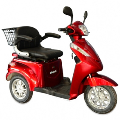 EWheels EW-38 3 Wheel Heavy Duty 500lbs. Wt. Capacity with Electromagnetic Brakes Scooter|ewheels, mobility scooter, ew-38, 3 wheel scooter, heavy duty, electromagnetic brakes, red, silver