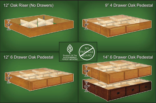 Waterbed Pedestal Oak Riser Base