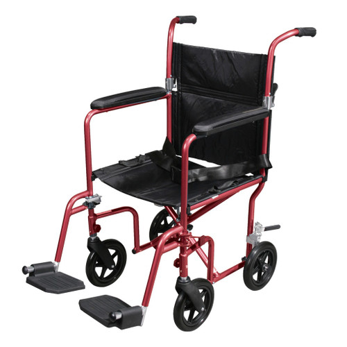 Deluxe Fly Weight Aluminum Transport Chair With Removable Casters