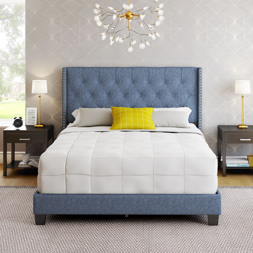 Mira Linen Upholstered Platform Bed Blue
