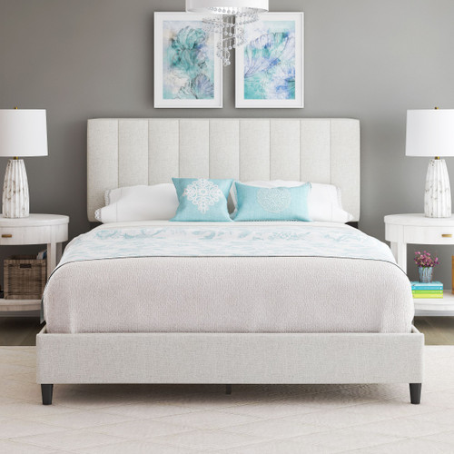 Lillian Linen Upholstered Platform Bed White