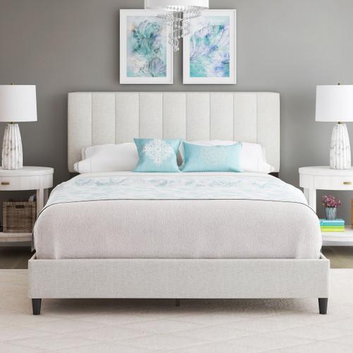 Lillian Linen Upholstered Platform Bed White