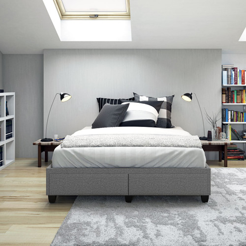 Marlowe Linen Upholstered Storage Bed Light Grey