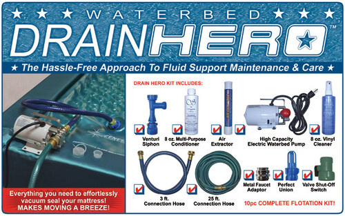 Drain Hero complete waterbed drain dry and cleaning kit. Maves moving a breeze