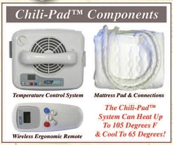 Innomax Chill Pad bed temperature regulator system components.