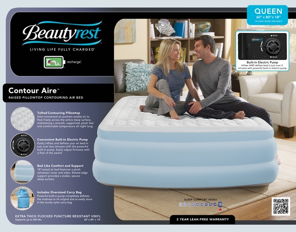 Boyd BeautyRest Queen Contour Aire Express Bed|boyd specialty sleep, beauty rest, air bed, contour aire, express bed, queen, pillowtop