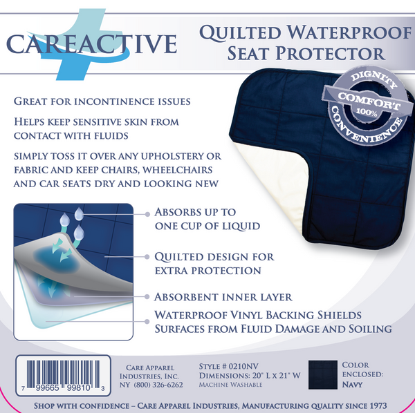 Quilted Waterproof Seat Protector by CareActive|careactive, waterproof, seat protector, quilted, brown, burgundy, navy