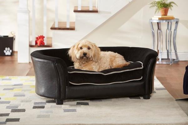 Enchanted Home Pet Ultra Plush Panache Black|enchanted home pet beds, pet beds, snuggle pet sofa, snuggle beds, pet sofa, Ultra Plush Panache, black