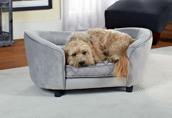 Enchanted Home Pet Ultra Plush Large Snuggle Bed Quicksilver|enchanted home pet beds, pet beds, snuggle pet sofa, snuggle beds, pet sofa, quicksilver