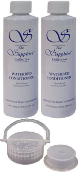 2 Bottles of 8 oz Blue Magic Sapphire Waterbed Conditioner with Cap & Plug bedding accessories, innomax, waterbed conditioner, blue magic conditioner, sapphire collection