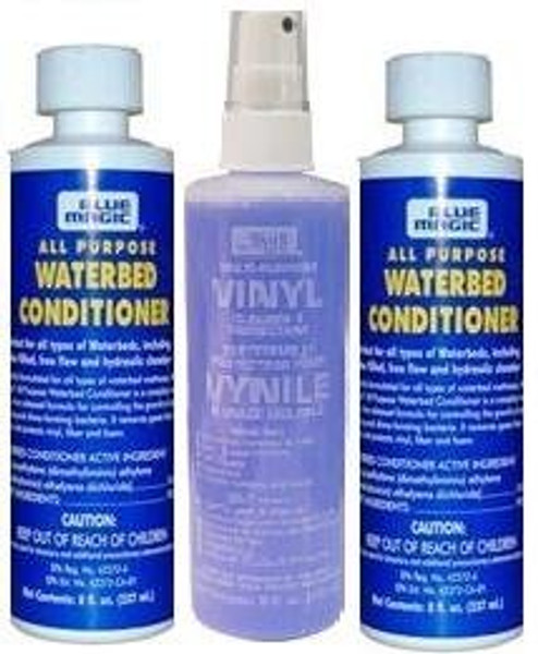 Two Blue Magic All Purpose Waterbed Conditioner with One 8oz Vinyl Cleaner|waterbed conditioner, all purpose conditioner, waterbed accessories, blue magic conditioner, bedding accessories, vinyl cleaner for waterbeds, all purpose cleaners