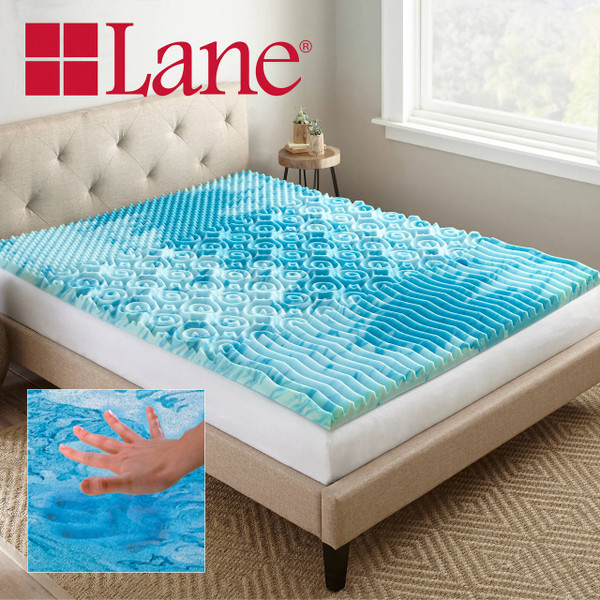 Boyd Specialty Sleep Lane 2 inch Gellux Convoluted Tri-Zone Gel Mattress Topper|boyd specialty sleep, mattress toppers, gel toppers, lane toppers, mattress pad, bed toppers
