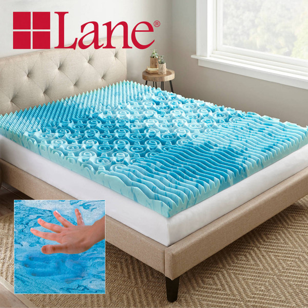 Boyd Specialty Sleep Lane 3 inch Gellux Convoluted Tri-Zone Gel Mattress Topper|boyd specialty sleep, mattress toppers, gel toppers, lane toppers, mattress pad, bed toppers