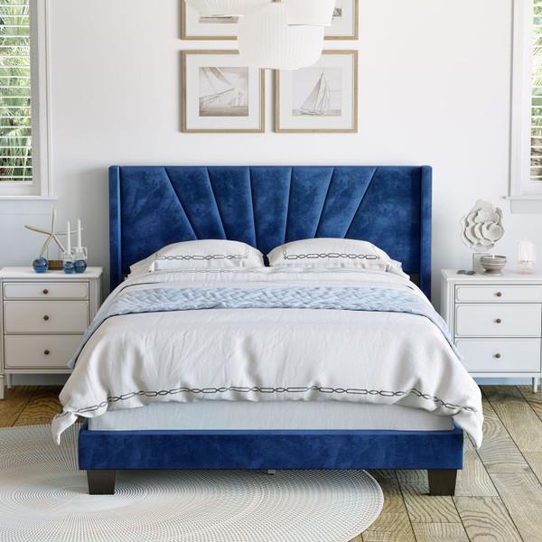 Valeria Velvet Upholstered Platform Bed Blue