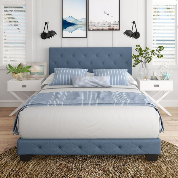 Colette Linen Upholstered Platform Bed  Blue