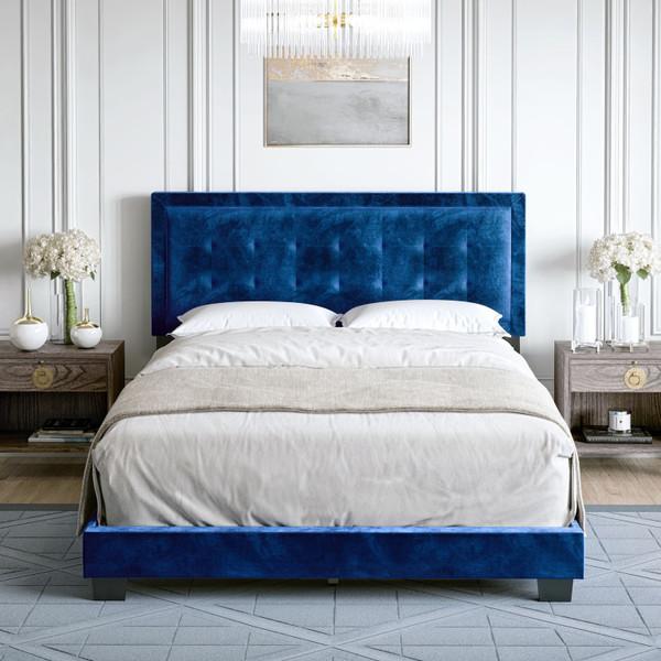 Paulina Velvet Upholstered Platform Bed Blue